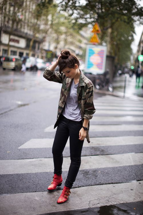 camo jacket & red boots. | lovely wear | Camo fashion