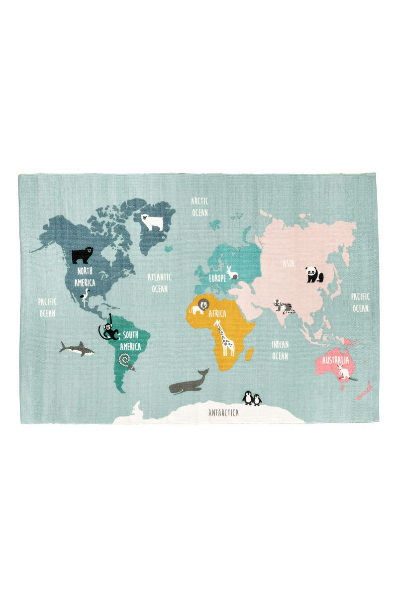 Hm world map motif cotton rug rectangular rugs rectangular rug in cotton fabric with a printed world map motif on gumiabroncs Gallery