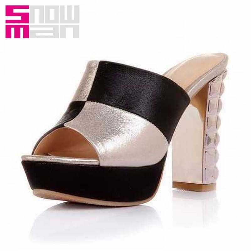 Fashion Patch Color Platform Open toe Slides Metal Thick High Heel Slides Causal Dating Women Sandals Women Shoes Summer Style alishoppbrasil