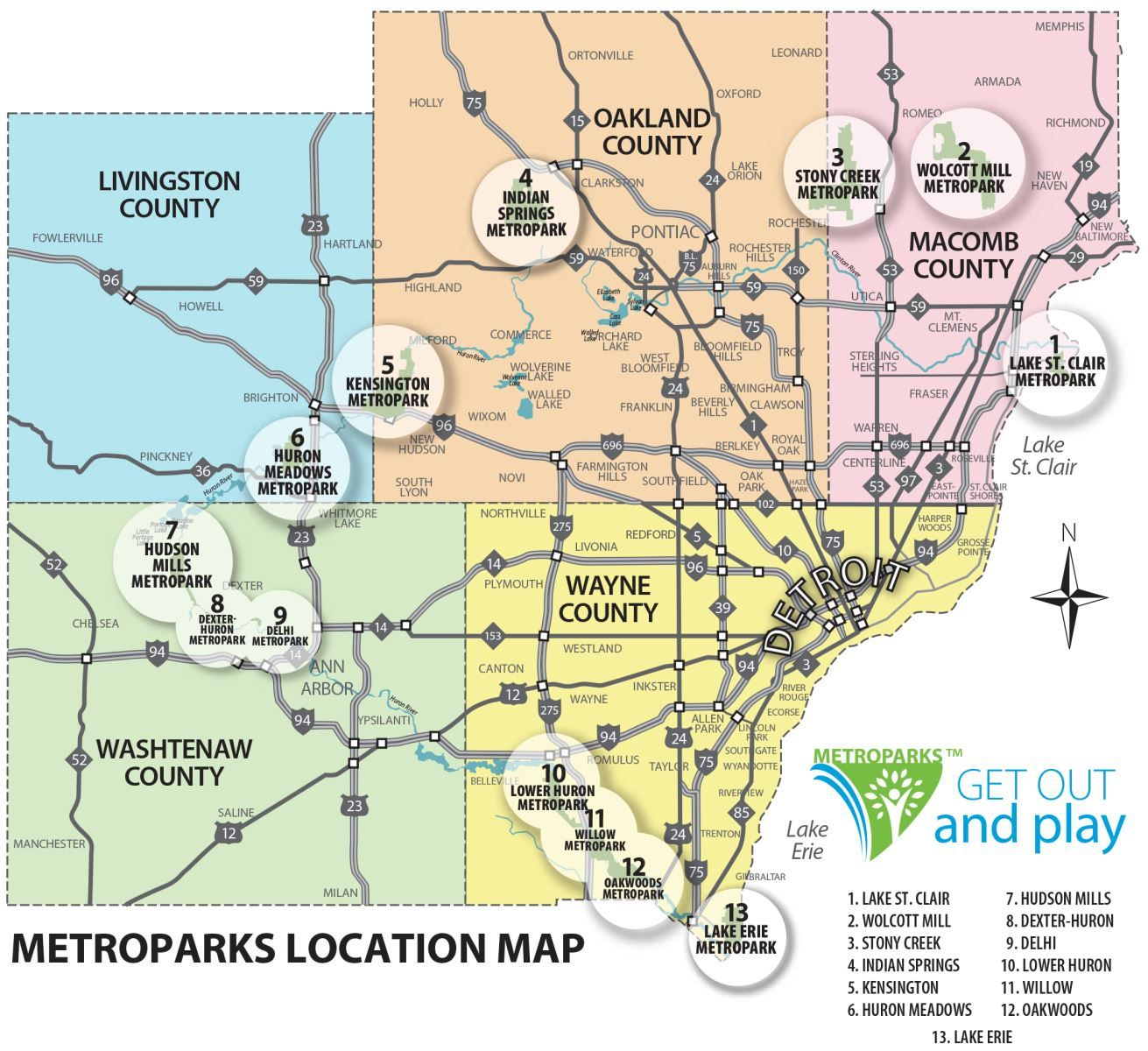 Metro Detroit Park Locations : Metropark Maps~ Indian Springs And  Kensington Are Close To Home