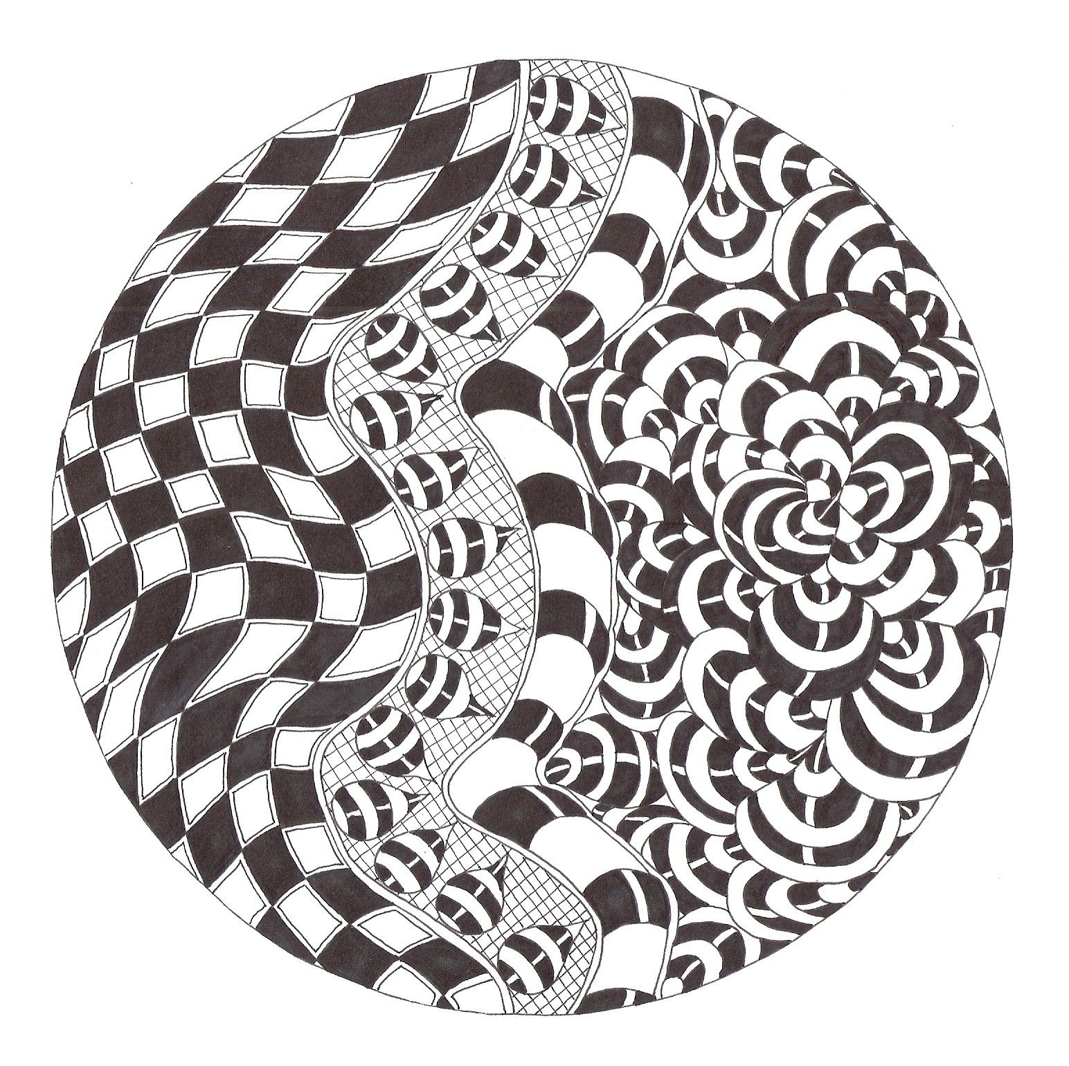 Zentangle Made By Mariska Den Boer 102 Zwart Wit Zwart Zentangle