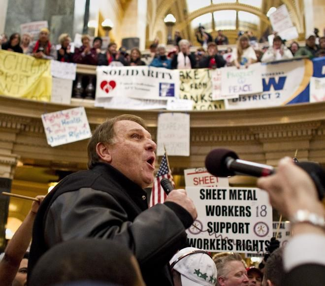 Jimmy Hoffa Jr. speaks from the rotunda floor during protests at the state Capitol over Gov. Scott Walker's bill to strip public unions of most of their bargaining rights in 2011.