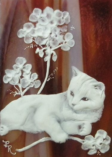 cat sculpted cameo on stained glass aceo porcelaine. Black Bedroom Furniture Sets. Home Design Ideas