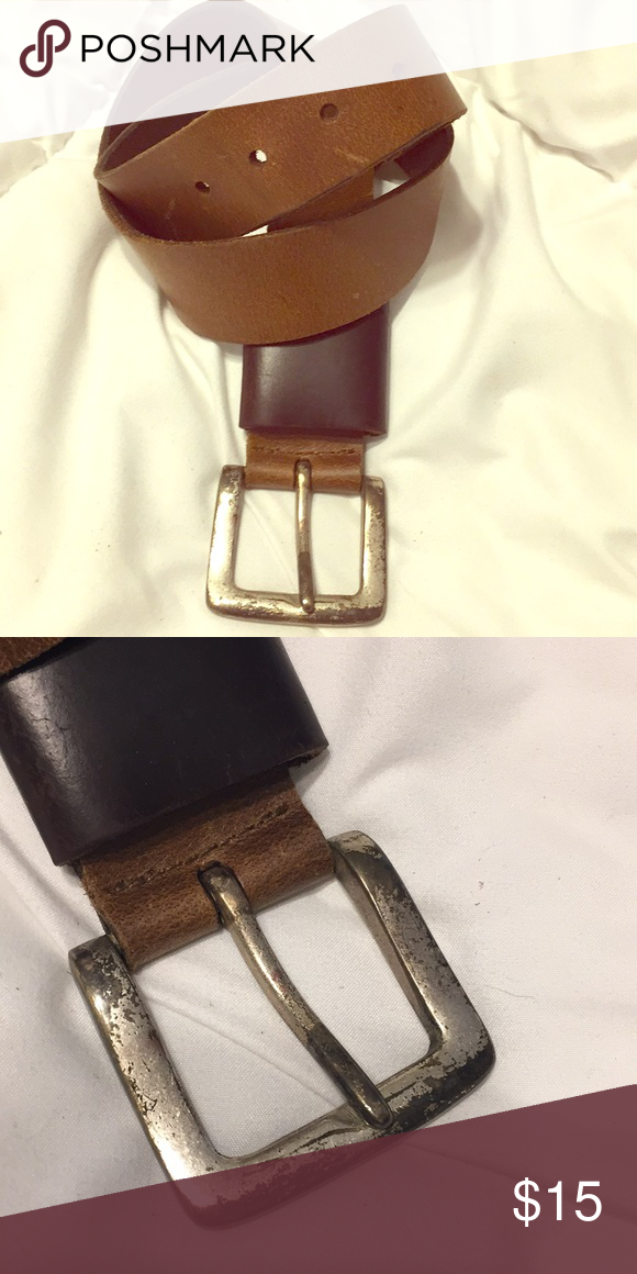 ae809315b5fcc Brown belt Leather brown belt made in India. Worn silver buckle.  Accessories Belts
