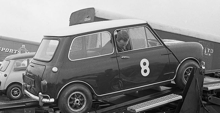 1964 Silverstone International Trophy Paddy Hopkirk on the Cooper Car Co. transporter