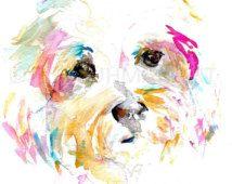 Chien Aquarelle Peinture Aquarelle Terrier Art Maltais Chien