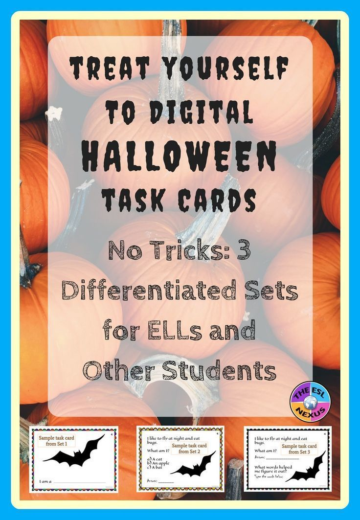 Use these digital task cards with 20 Halloweenrelated