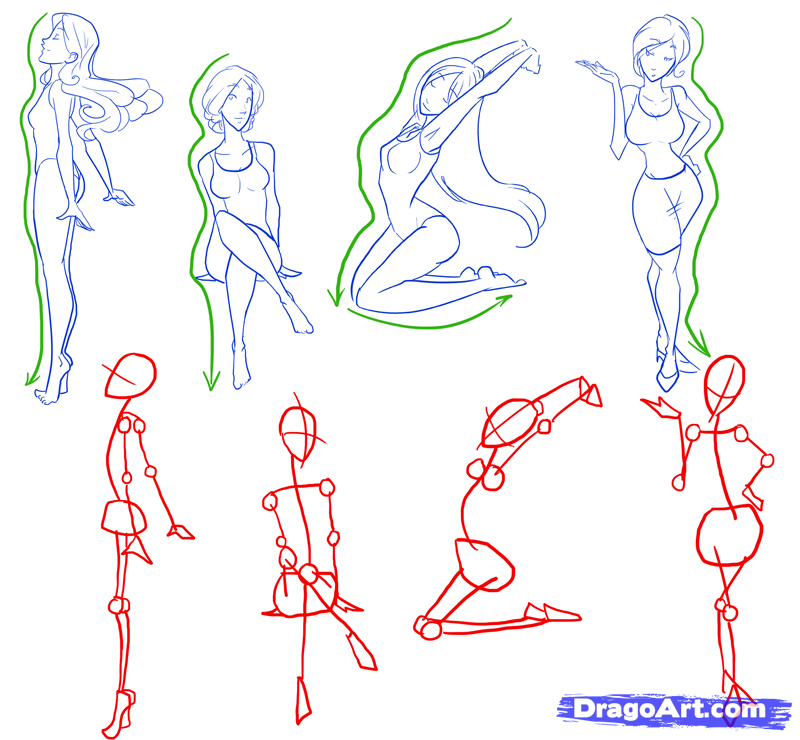 How to Draw Female Figures, Draw Female Bodies, Step by
