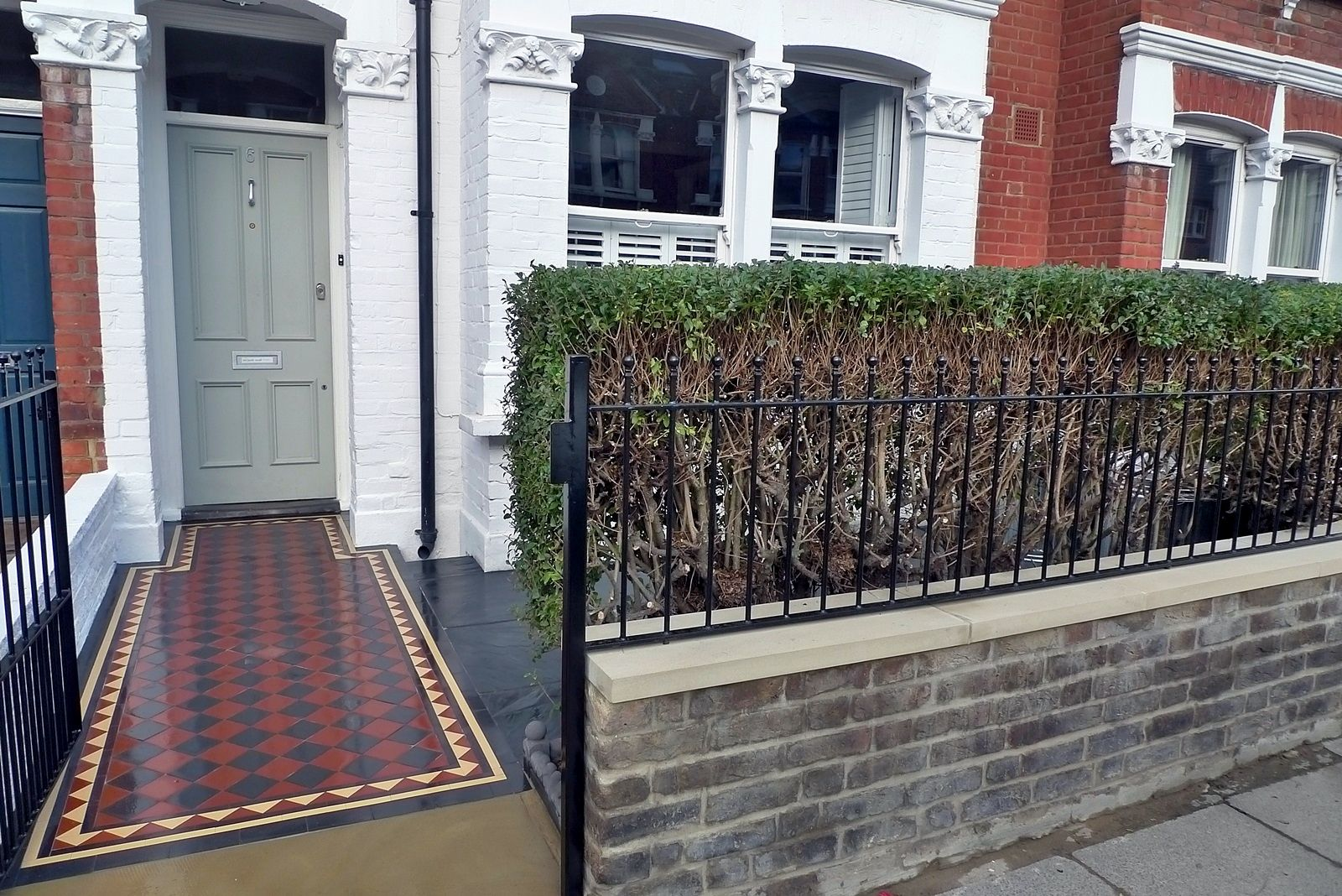 South West London Front Garden Design And Landscaping Mosaic Yorkstone  Stock Brick Wall Slate Paving Wrought Iron Rail And Gate
