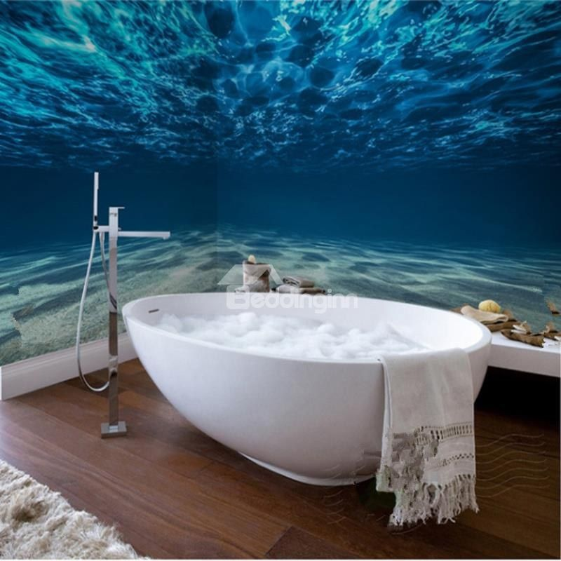 3d Blue Ocean Pattern Waterproof Sturdy Dampproof Eco Friendly