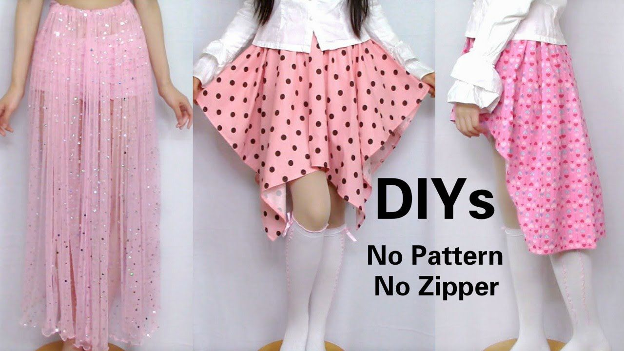 3 Cute Skirt DIYs for Beginners: DIY Long Skirt+ High-low Skirt+Asymmetr... ===JUSTTTT VOCABULARY====