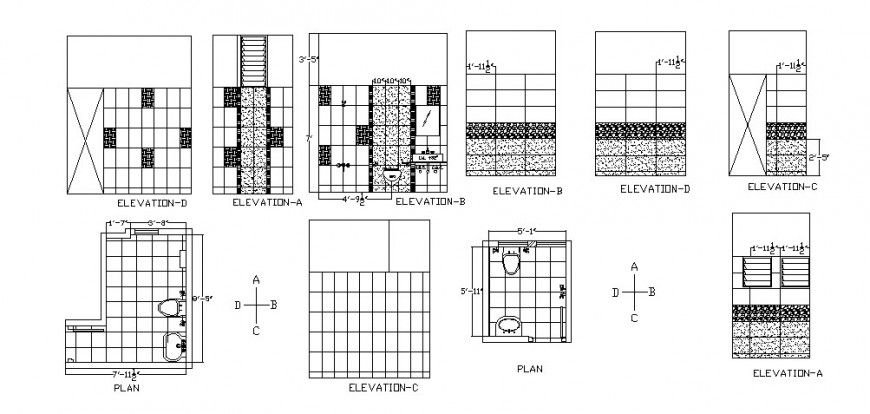 House Bathroom Elevation Section Plan And Installation Dwg File