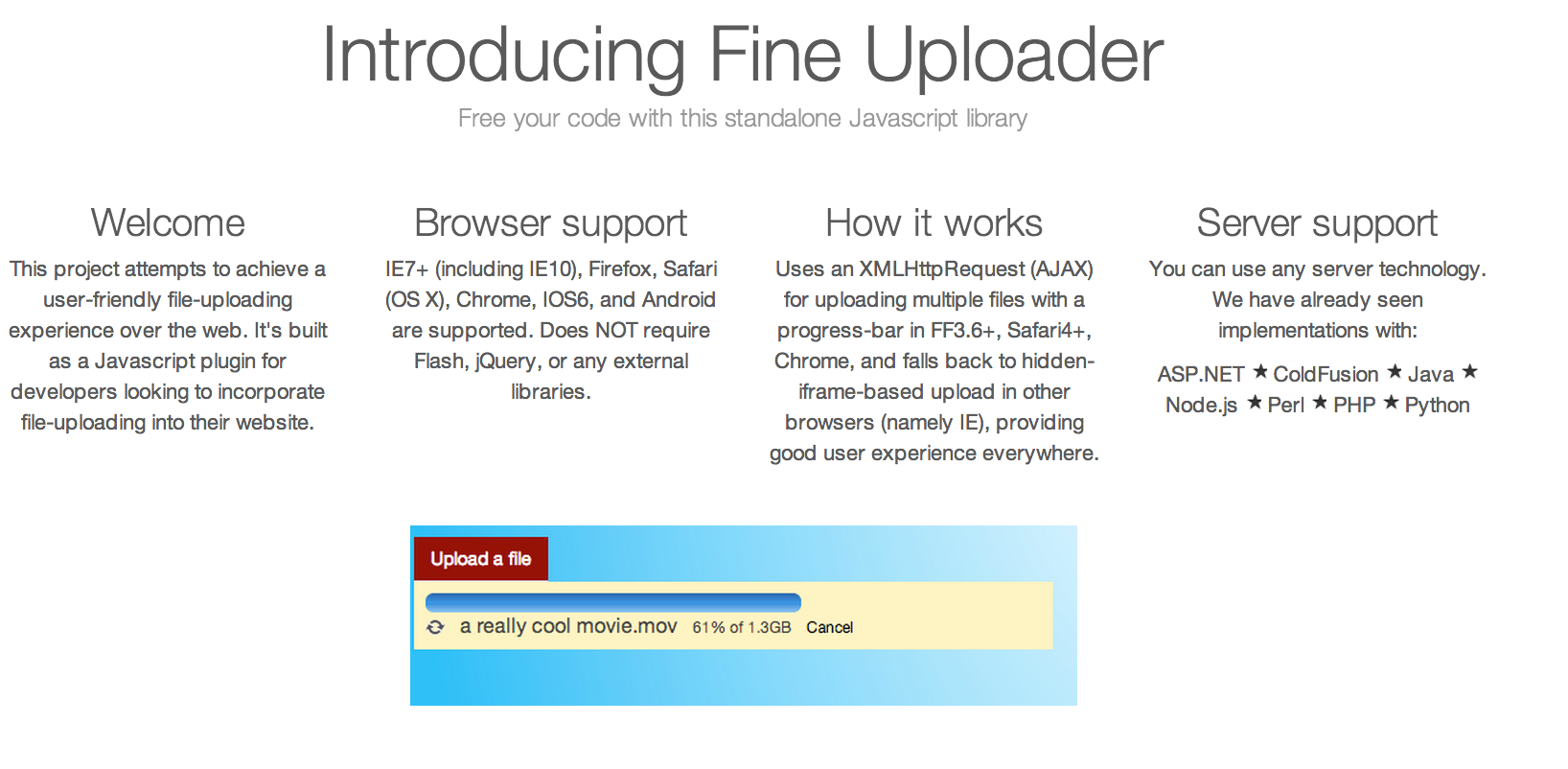 user-friendly file-upload plugin that supports IE7+