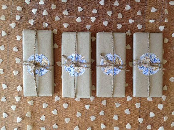 Homemade Elegant Rustic Wedding Favour Wrapped Chocolate Bar