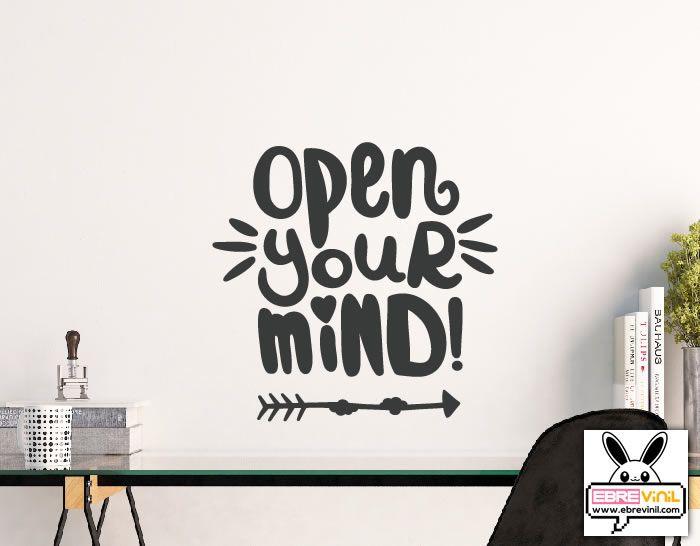 Vinilo de texto con frase en ingl s open yor mind 05151 for Vinilos pared frases