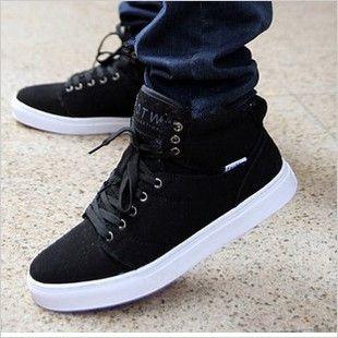 Male shoes high-top canvas shoes men's