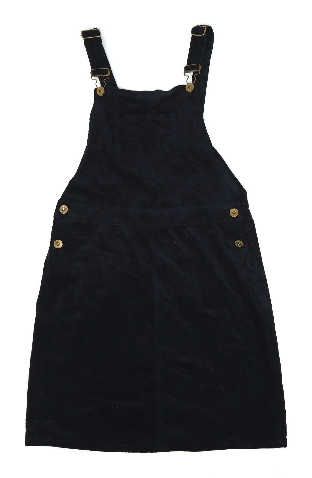 TU Womens Size 10 Black Cotton Blend Corduroy Dungaree Dress