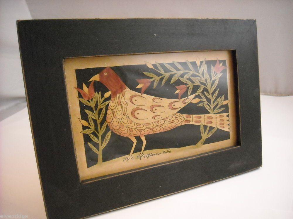 Paper Cutting Bird in Frame PA German folk art style Scherenschnitte fraktur