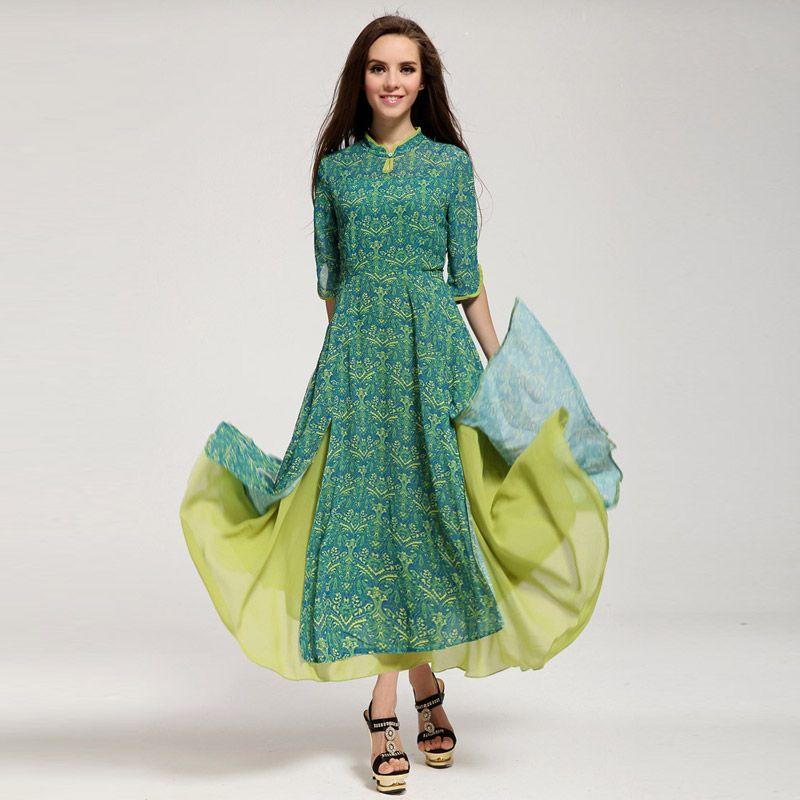 aca5e57e28bd8 dress chiffon Chinese long dress tunic lace dress 2015 bohemian ...