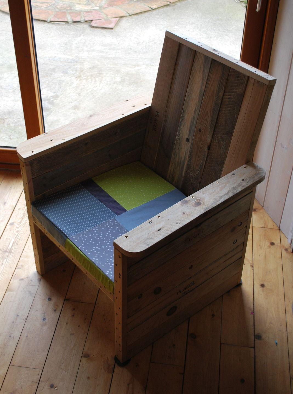 Fauteuil En Bois De Palettes Recycl Es Pour Jardin Ou Int Rieur  # Meuble Vintage En Palette