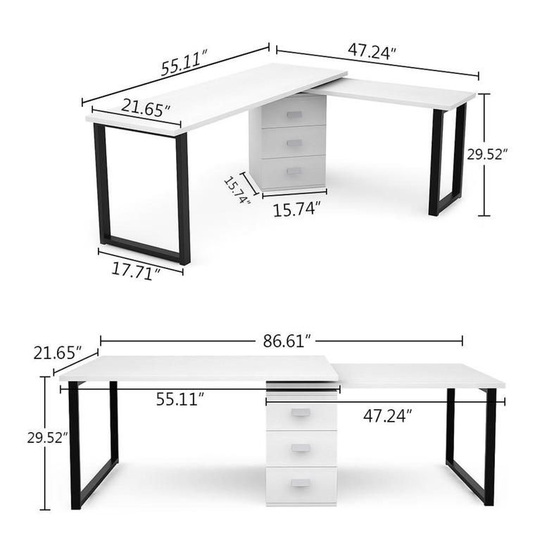 Rotating L Shaped Computer Desk With Storage File Cabinet In 2021 Cheap Office Furniture Home Modern Home Office Desk L shaped computer desk with storage
