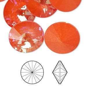 Chaton, Swarovski crystal rhinestone with third-party coating, ultra orange AB, 18mm faceted rivoli (1122). Sold per pkg of 72.