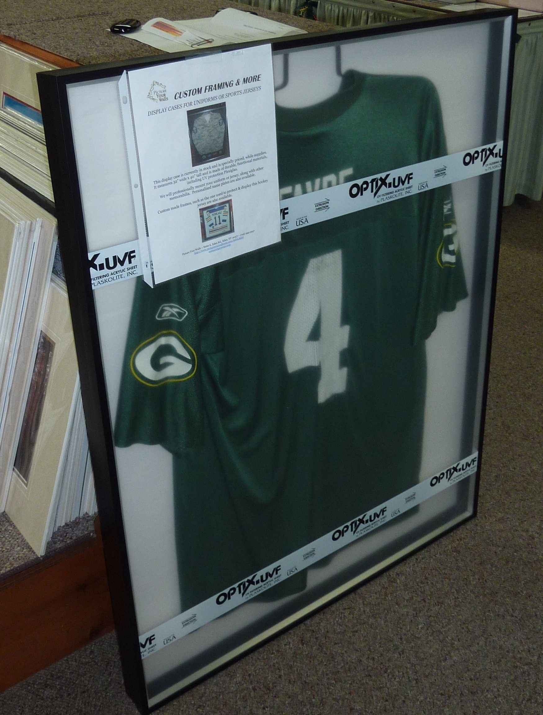 Example of a Green Bay Packers in a #jersey display case