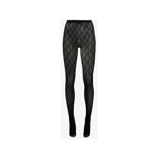 72d11832fe7bc Gucci GG logo tights ($92) ❤ liked on Polyvore featuring intimates,  hosiery, tights, patterned tights, patterned stockings, print stockings, ...
