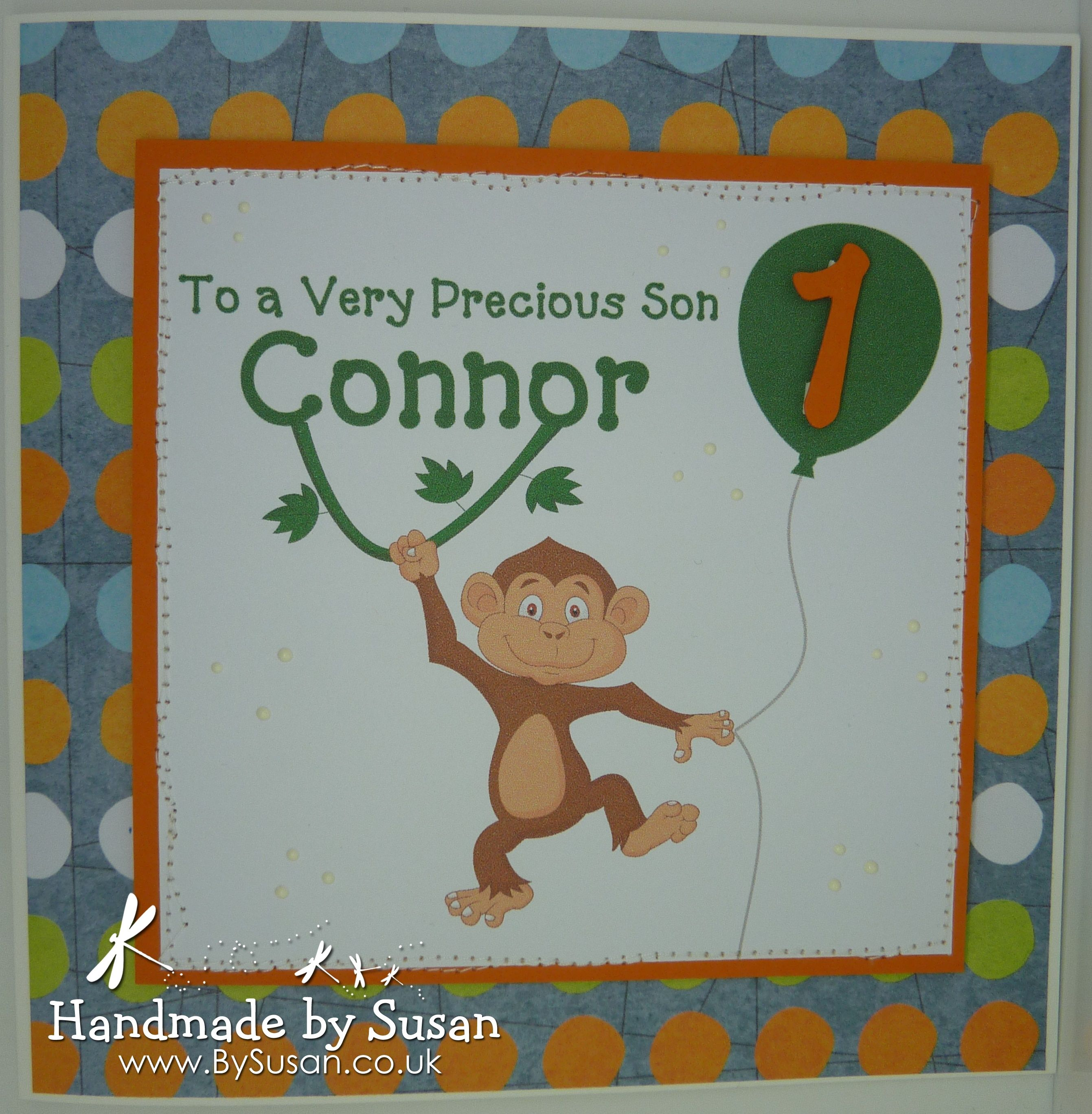 Monkey st birthday card bysusan pinterest kids