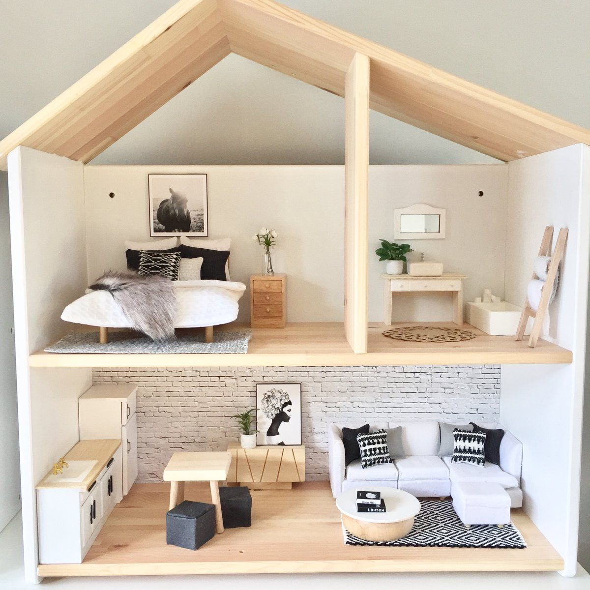 The Fully Furnished Boho Dollhouse Is A Perfect Size To Fit On A Dresser Or Small Table Exact Measu Doll House Plans Modern Dollhouse Furniture Ikea Dollhouse