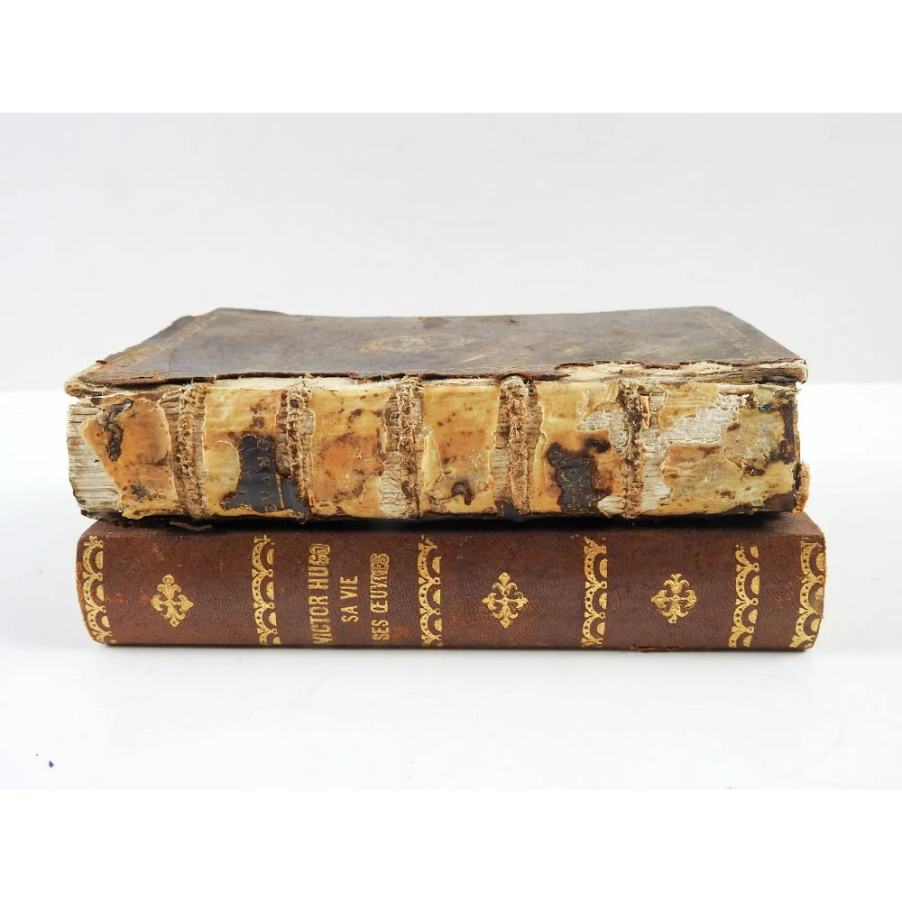 Antique Distressed French Leather Stacked Book Box Chairish Stack Of Books French Antiques Book Box