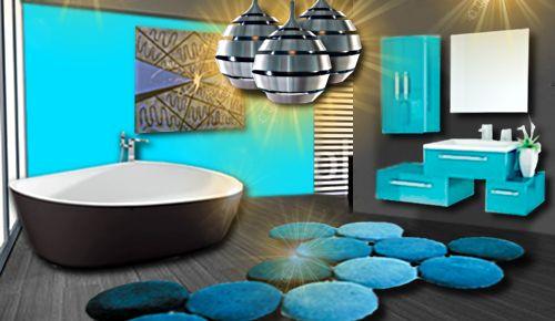 for Deco salle de bain gris et bleu turquoise