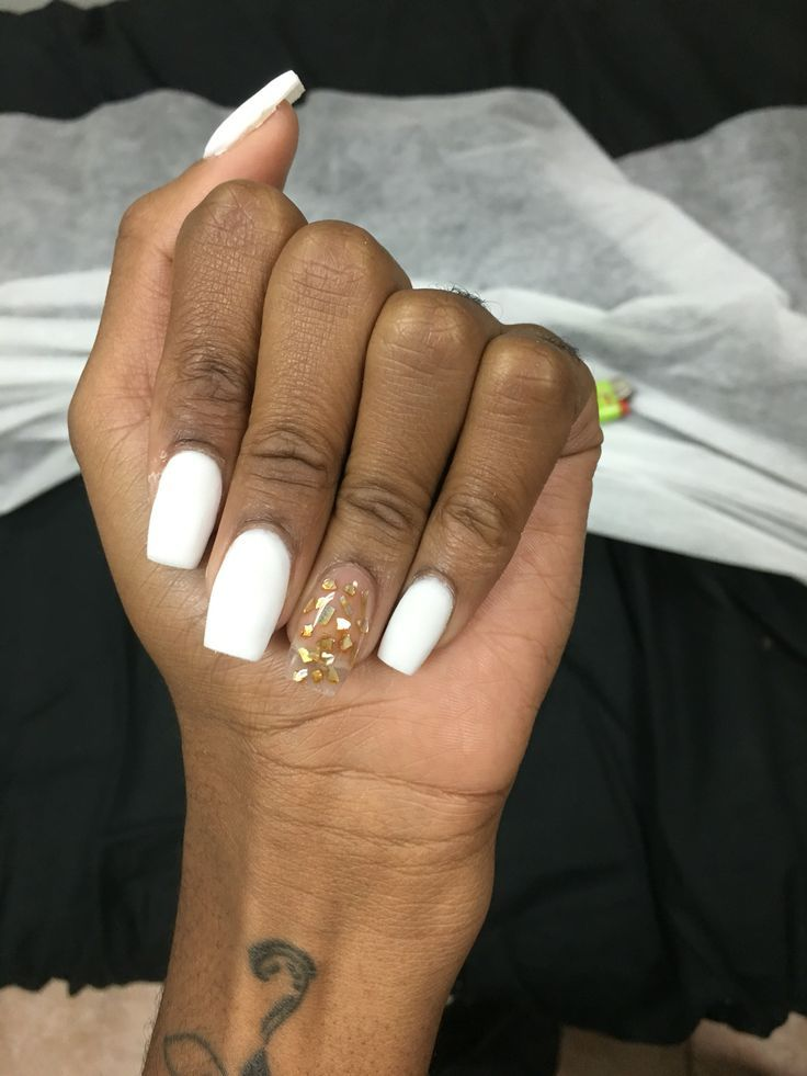 White matte powder acrylic nails with incapsulated gold flakes ...