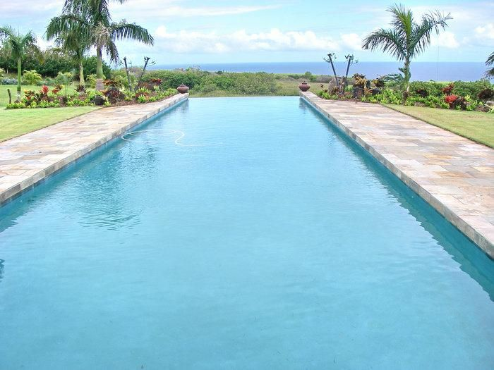 Lap Pool With Infinity Edge Looking Towards The Pacific Ocean