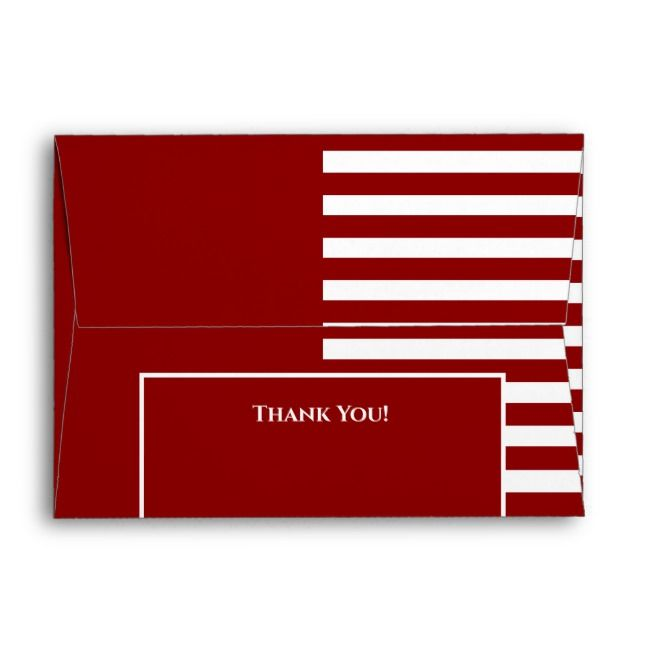 Red and White Striped  Wedding Invite RSVP Envelope