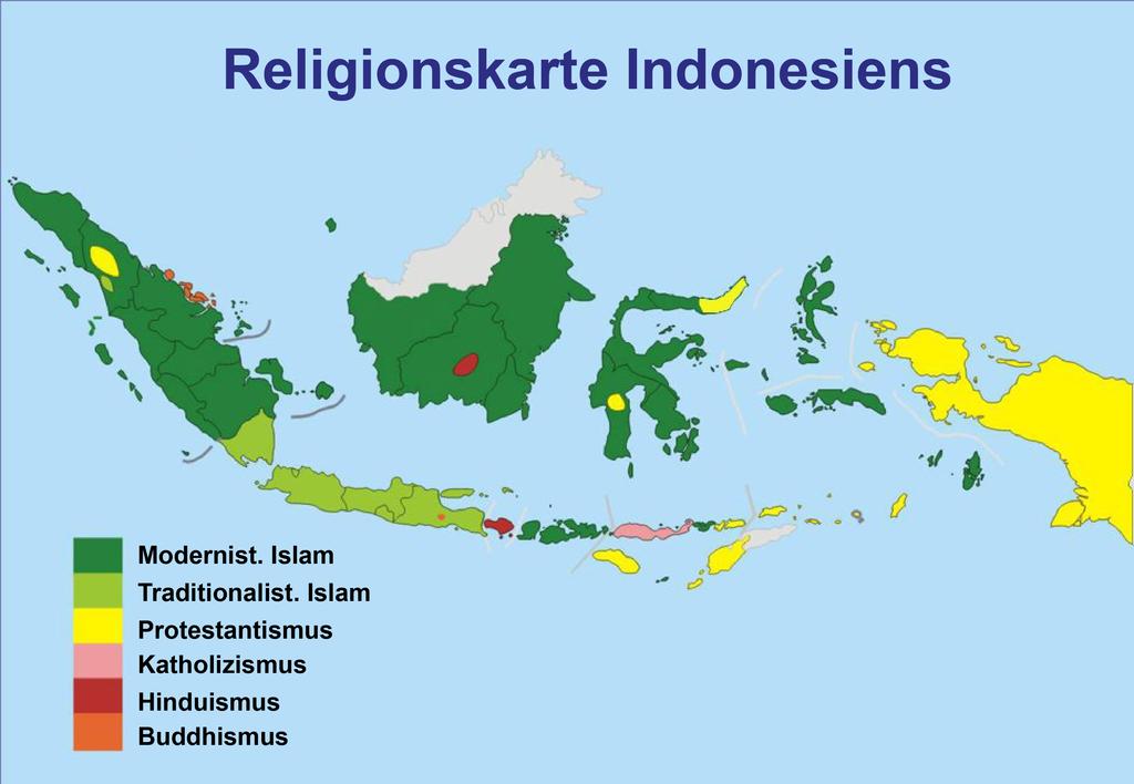 Religionen In Indonesien Map Indonesian Religions Indonesien