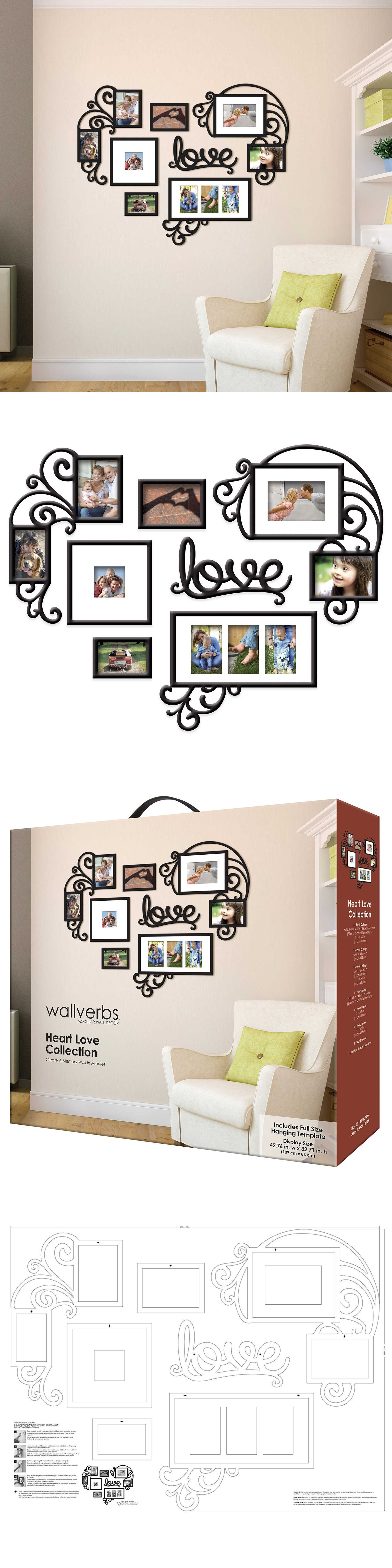 Household items heart love collage photo picture frame set black