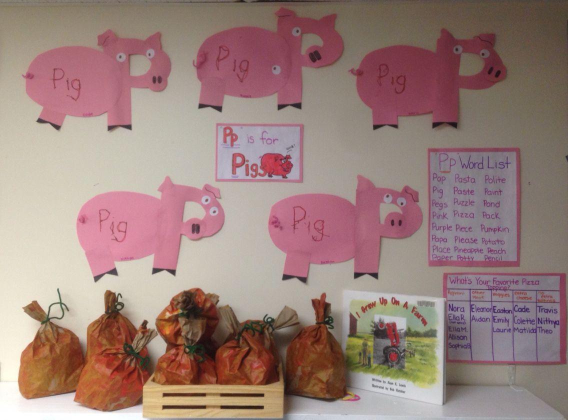 P Is For Pig And Pumpkin Display Preschool Children