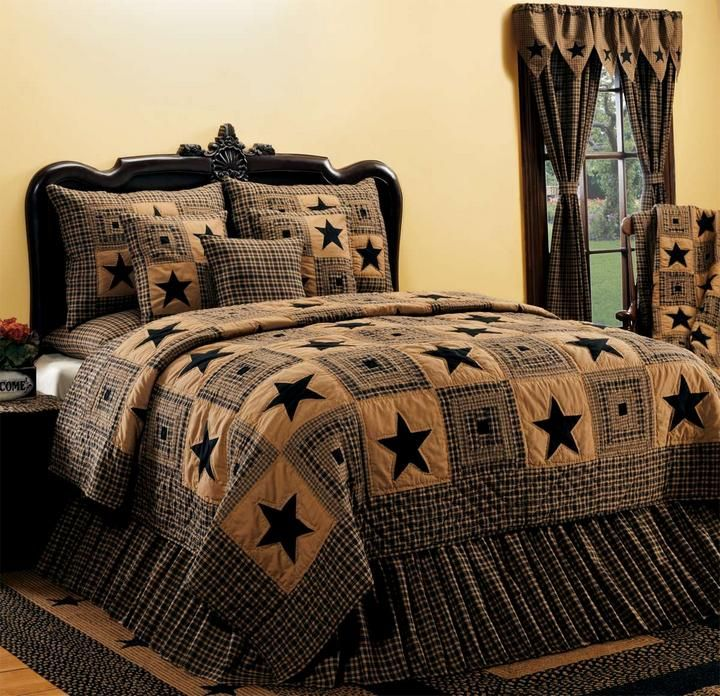 Country And Primitive Bedding Quilts Vintage Star Black Bedding
