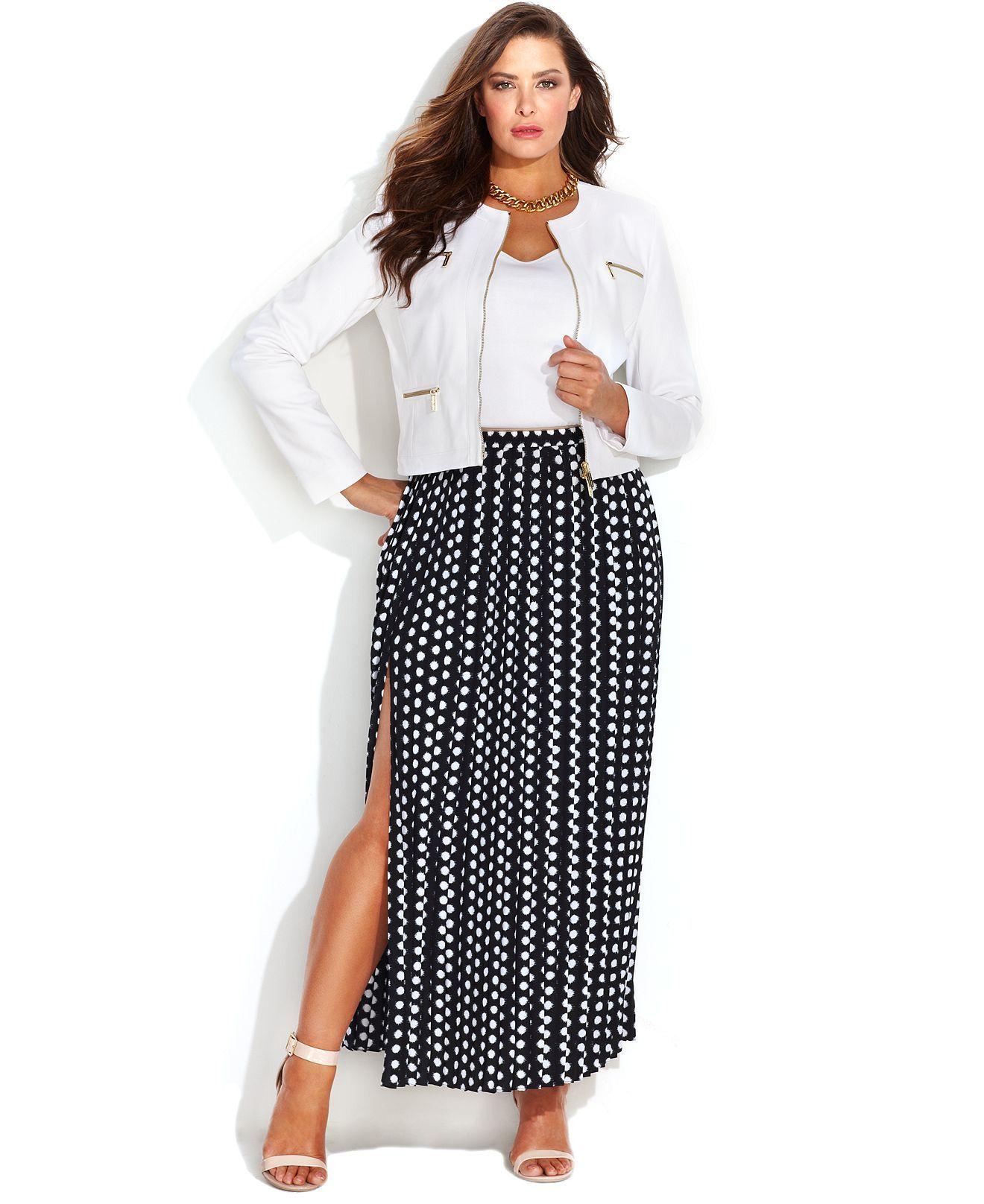 145cc68358b3aa MICHAEL Michael Kors Plus Size Printed Pleated Maxi Skirt - Plus Sizes -  Macy's