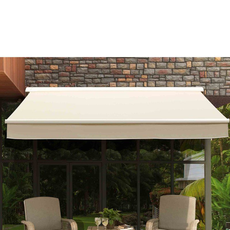 Sunjoy 10 Ft W X 8 Ft D Retractable Patio Awning Wayfair With Images Patio Awning Patio Awning