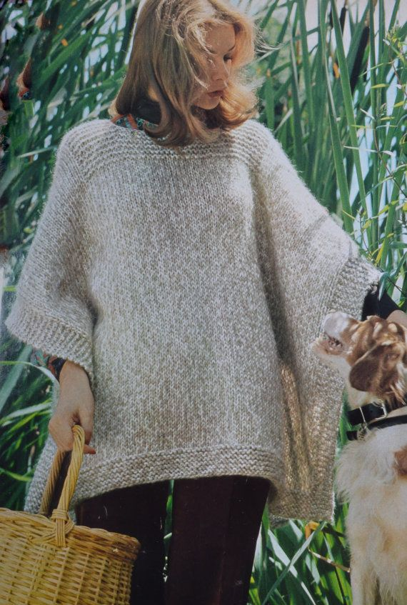 Simple poncho pdf cover up adult woman's vintage knitting ...
