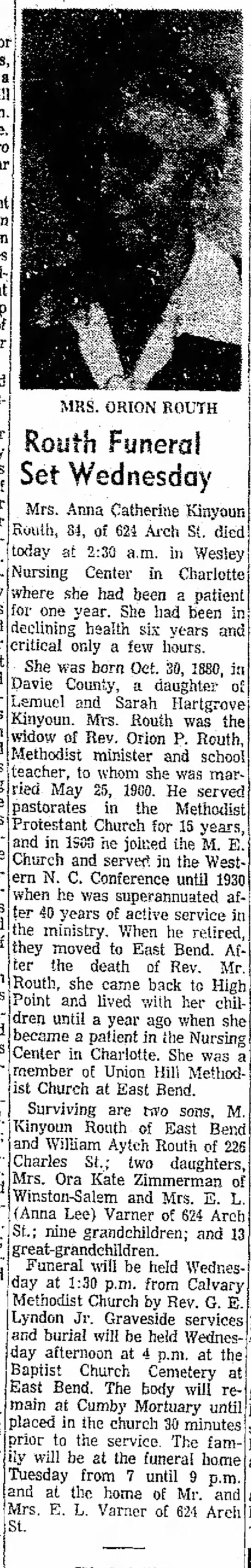 Found in The High Point Enterprise in High Point, North Carolina on Mon, Oct 11, 1965. Mrs. Orion Routh obituary
