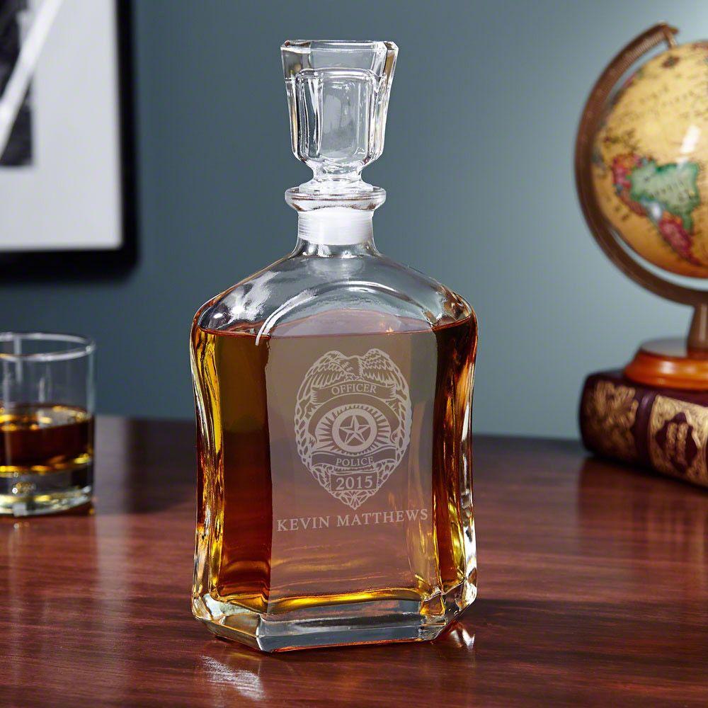 Police Badge Personalized Argos Whiskey Decanter Home Wet Bar Whiskey Decanter Whisky Decanter