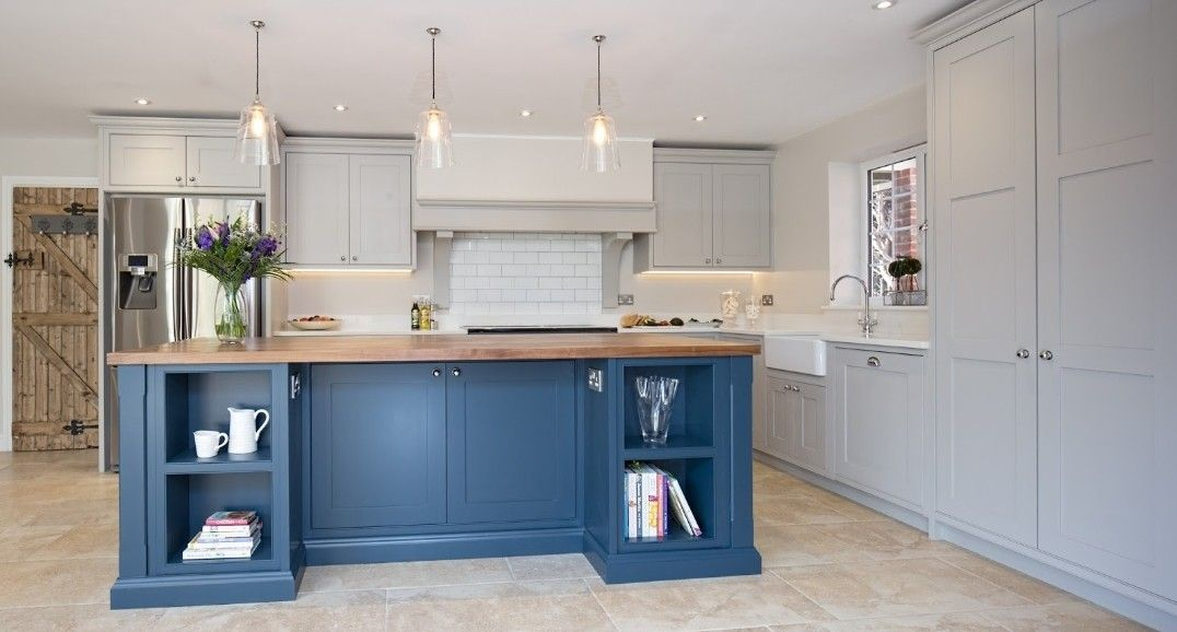 Hague blue with wood worktop and light grey back cabinets ...