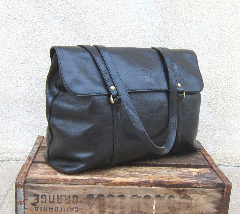 Vintage Toscanino Black Leather Work Tote - $54.00