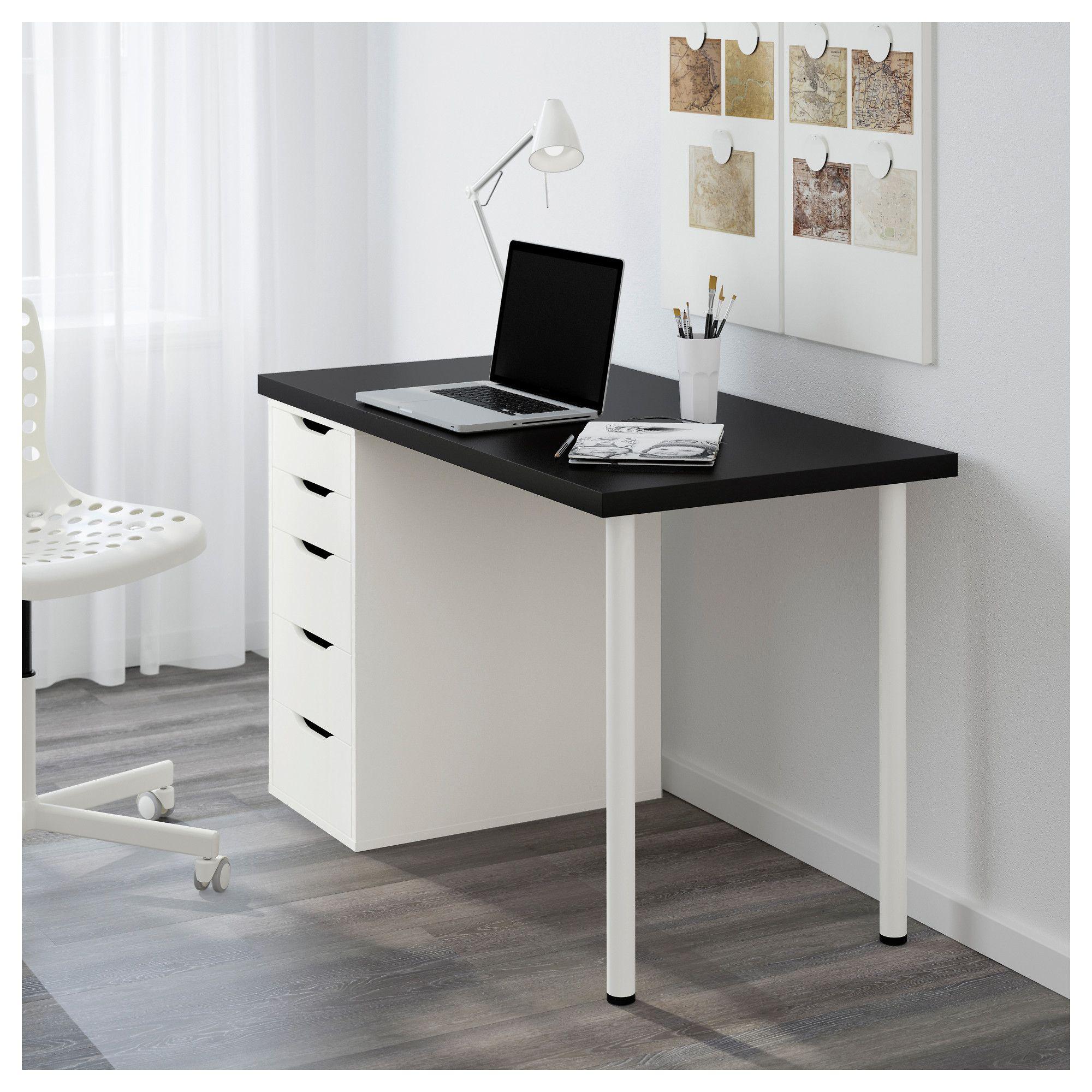 Linnmon Alex Table Black Brown White Ikea Ikea Ikea Desk Home Office Desks