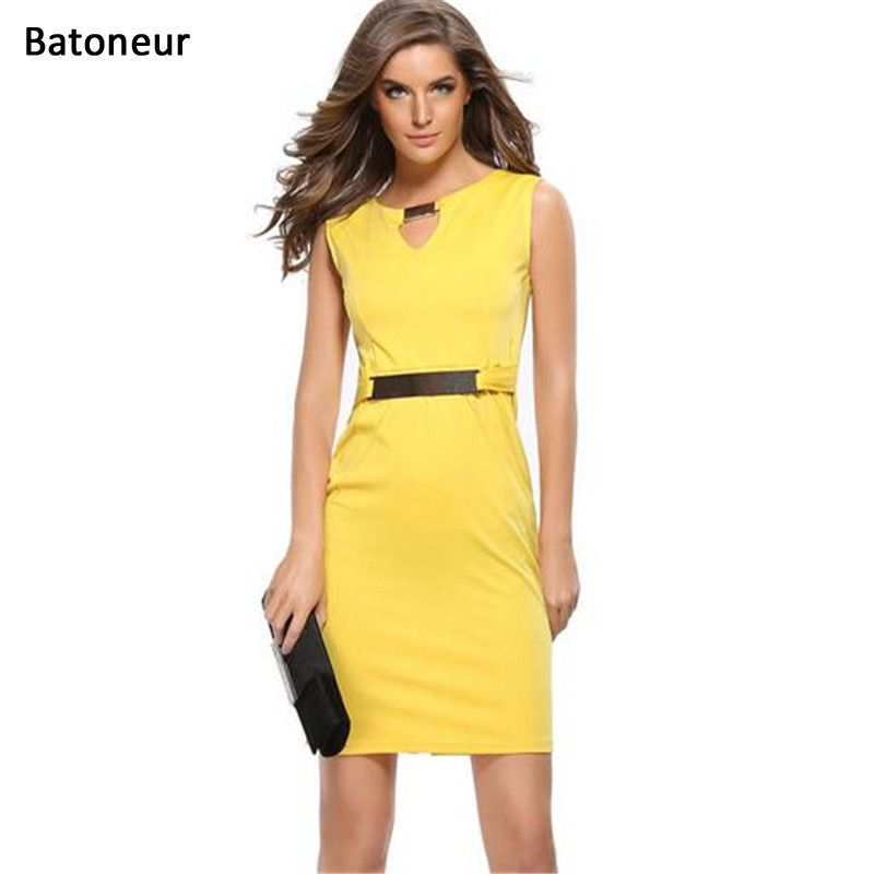 e2c96db8072 Yellow Color Dress Metal Buckle V Neck Sleeveless 2017 Summer Office Dress  Good Elastic Work Outfit