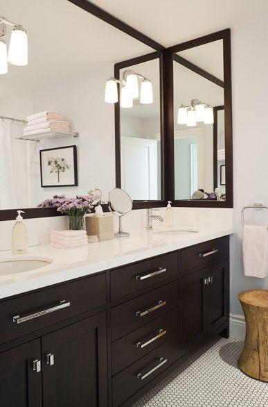 Jennifer Worts Design Modern Espresso Bathroom Design With Espresso Double Vanity Chrome Mo Bathroom Design Bathroom Color Schemes Bathroom Decor