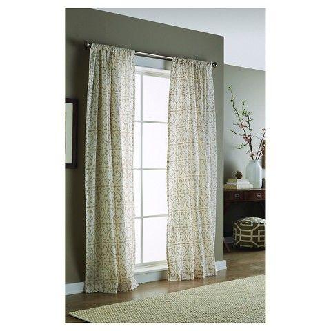 ThresholdTM Flocked Scroll Curtain Panel